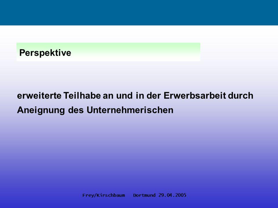 Frey/Kirschbaum Dortmund 29.04.2005 De-thematisierung von Geschlecht Verwertbarkeitslogik Individualisierung der Durchsetzung von Egalitätsansprüchen Synergie- und Versöhnungseffekte Wandel betrieblicher Geschlechterpolitik
