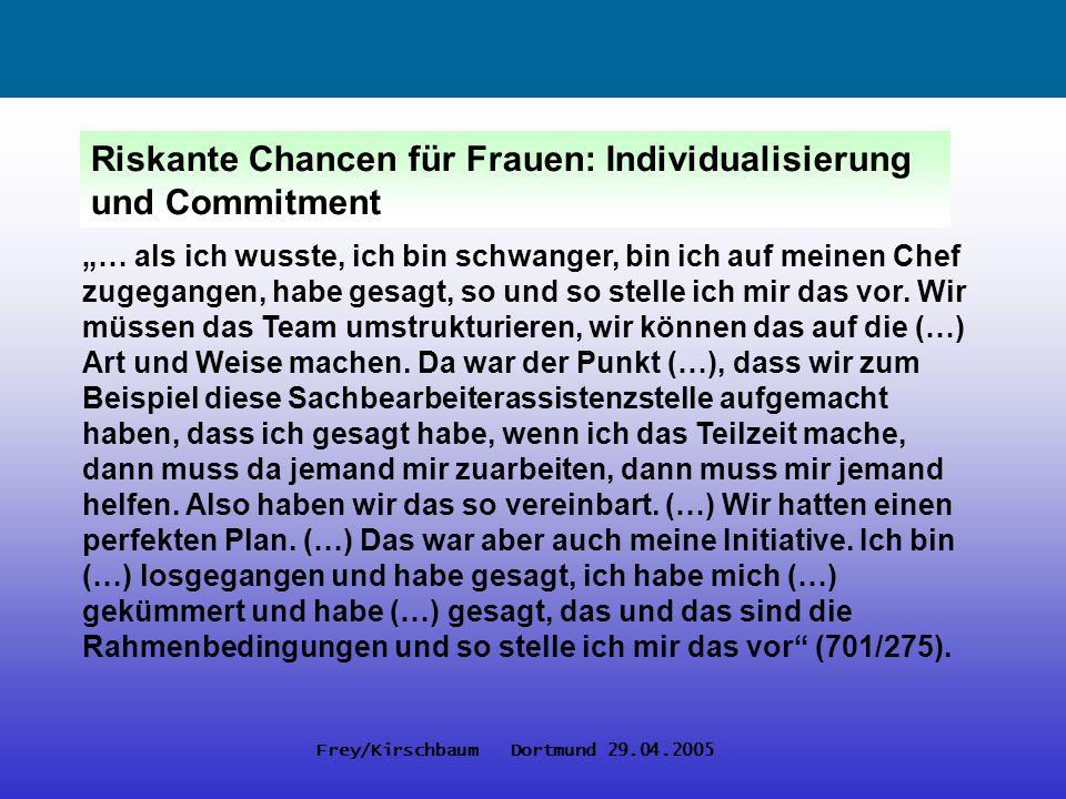 Frey/Kirschbaum Dortmund 29.04.2005 Riskante Chancen für Frauen: Individualisierung und Commitment … als ich wusste, ich bin schwanger, bin ich auf me
