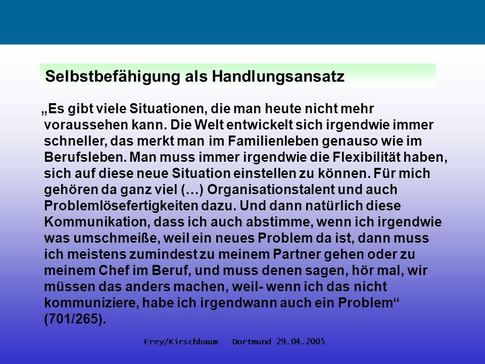 Frey/Kirschbaum Dortmund 29.04.2005 Fazit Die Subjektivität aller Beschäftigten als neue Produktivitätsressource erfordert eine solidarische Arbeits- und Geschlechterpolitik, die soziale Differenzierungen integriert, statt auf Basis von (Geschlechter-)Differenz polarisiert und exkludiert.