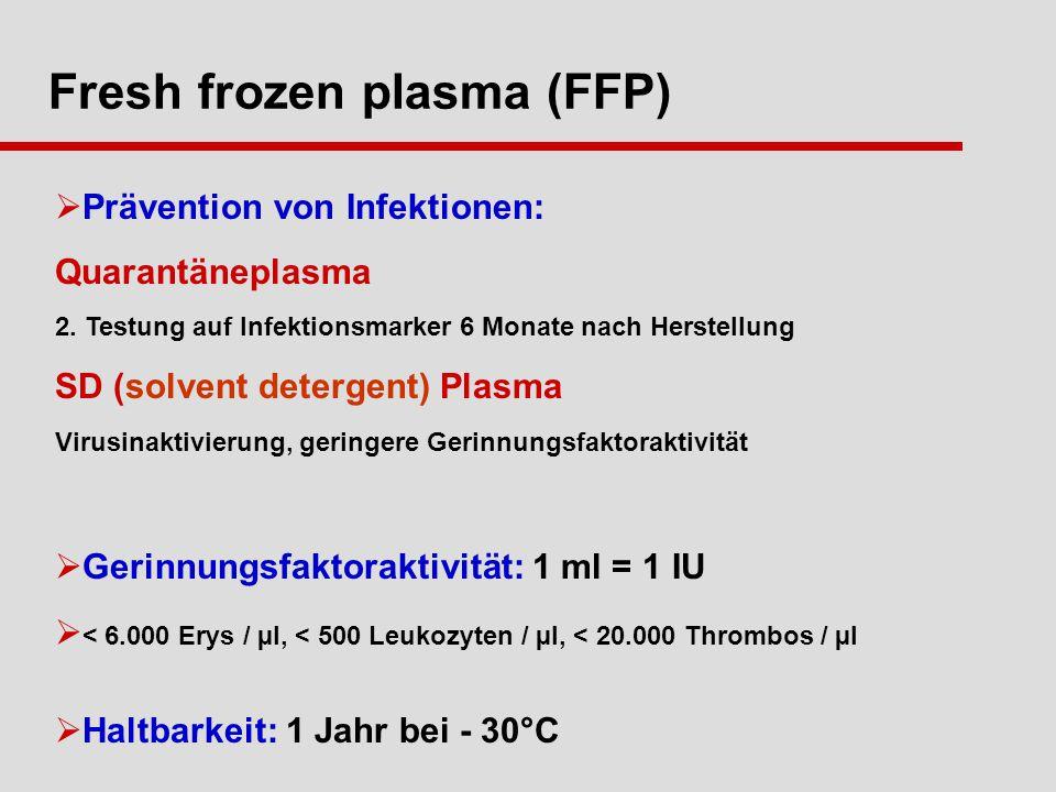 Fresh frozen plasma (FFP) Prävention von Infektionen: Quarantäneplasma 2.