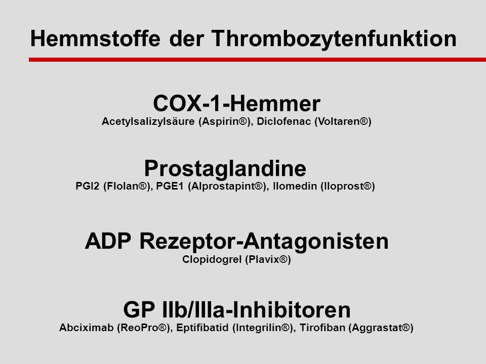 Hemmstoffe der Thrombozytenfunktion COX-1-Hemmer Acetylsalizylsäure (Aspirin®), Diclofenac (Voltaren®) Prostaglandine PGI2 (Flolan®), PGE1 (Alprostapint®), Ilomedin (Iloprost®) ADP Rezeptor-Antagonisten Clopidogrel (Plavix®) GP IIb/IIIa-Inhibitoren Abciximab (ReoPro®), Eptifibatid (Integrilin®), Tirofiban (Aggrastat®)