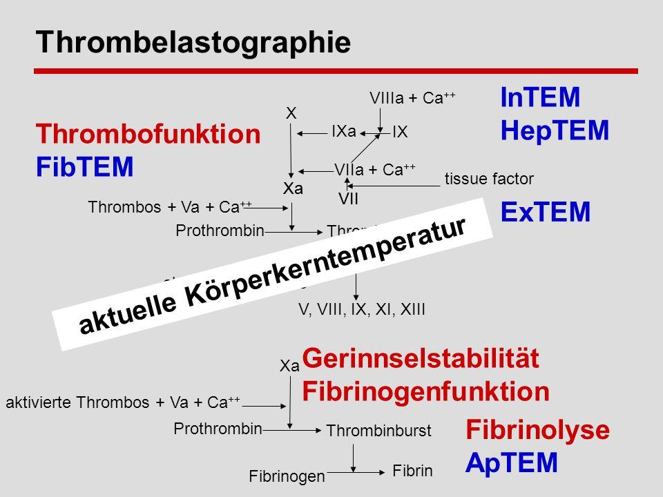 Thrombelastographie Xa Thrombos + Va + Ca ++ Prothrombin Thrombin VII tissue factor aktivierte Thrombos V, VIII, IX, XI, XIII Fibrin Fibrinogen Xa aktivierte Thrombos + Va + Ca ++ Prothrombin Thrombinburst X Xa VIIIa + Ca ++ IX IXa VIIa + Ca ++ VII InTEM HepTEM ExTEM Gerinnselstabilität Fibrinogenfunktion Thrombofunktion FibTEM Fibrinolyse ApTEM aktuelle Körperkerntemperatur