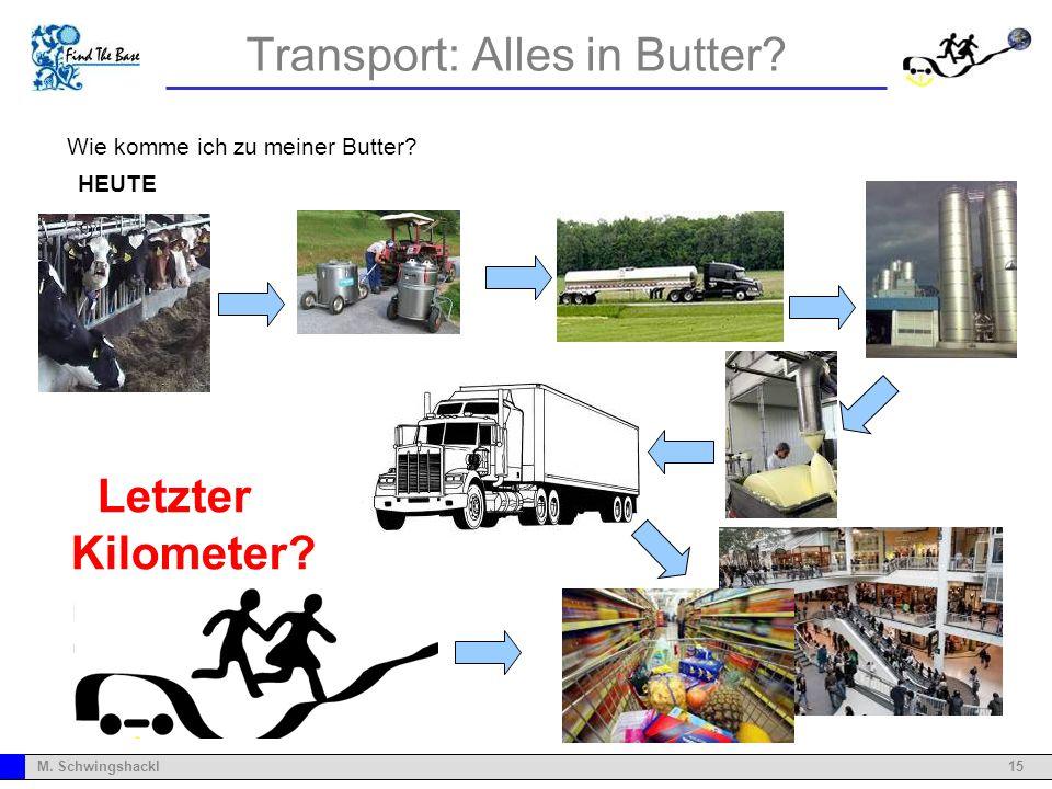 15M. Schwingshackl Transport: Alles in Butter? Wie komme ich zu meiner Butter? HEUTE Letzter Kilometer?