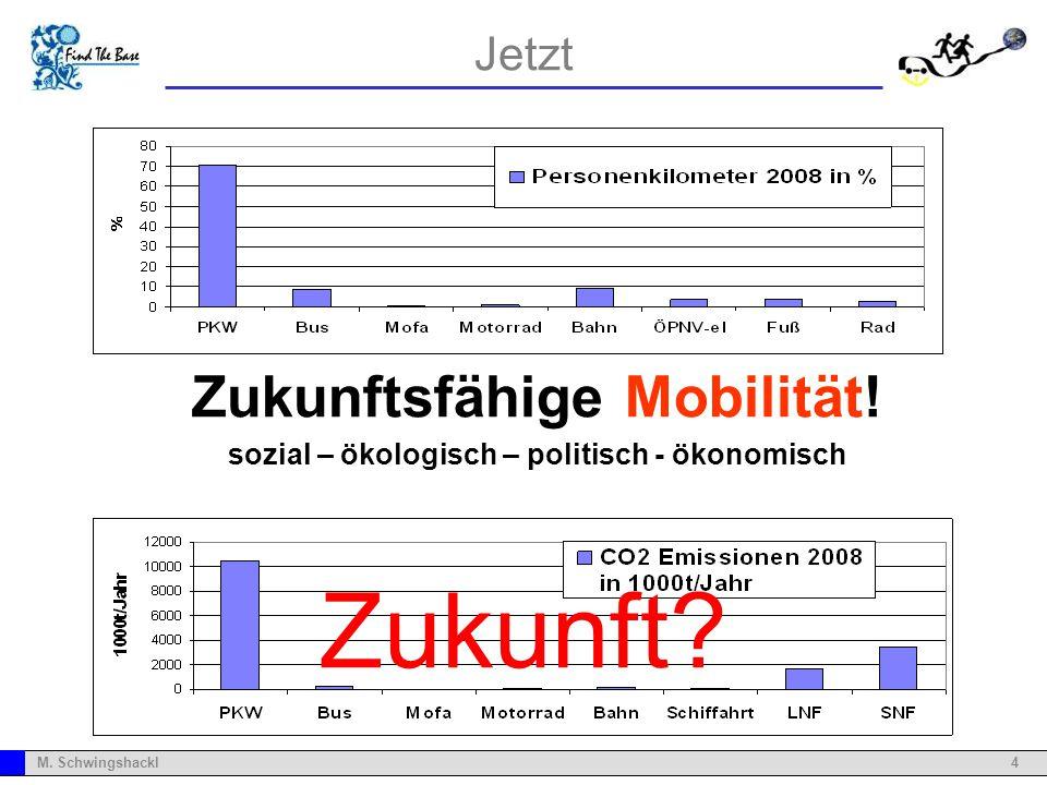 4M. Schwingshackl Zukunftsfähigkeit! sozial – ökologisch – politisch - ökonomisch Jetzt Zukunftsfähige Mobilität! sozial – ökologisch – politisch - ök