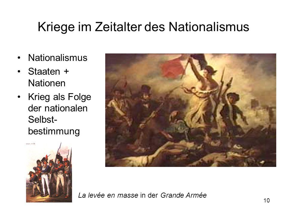 10 Kriege im Zeitalter des Nationalismus Nationalismus Staaten + Nationen Krieg als Folge der nationalen Selbst- bestimmung La levée en masse in der Grande Armée