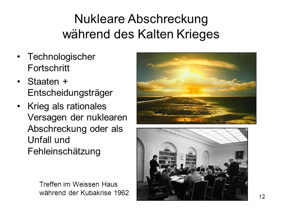 12 Nukleare Abschreckung während des Kalten Krieges Technologischer Fortschritt Staaten + Entscheidungsträger Krieg als rationales Versagen der nuklearen Abschreckung oder als Unfall und Fehleinschätzung Treffen im Weissen Haus während der Kubakrise 1962