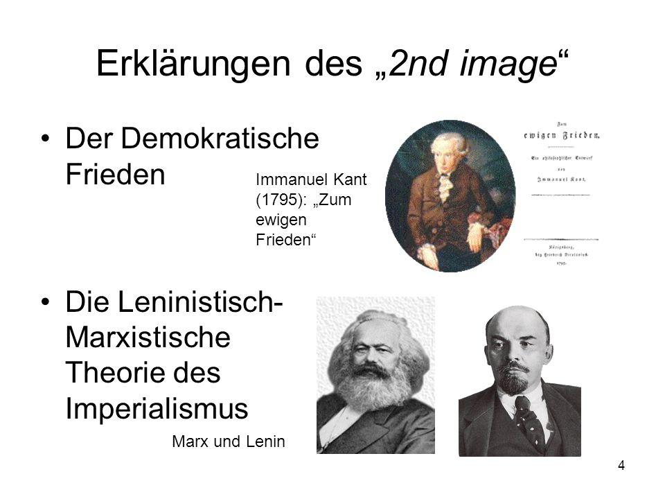 4 Erklärungen des 2nd image Der Demokratische Frieden Die Leninistisch- Marxistische Theorie des Imperialismus Immanuel Kant (1795): Zum ewigen Frieden Marx und Lenin
