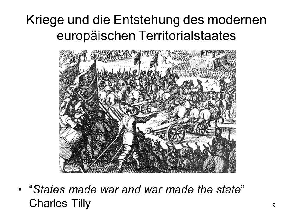 9 Kriege und die Entstehung des modernen europäischen Territorialstaates States made war and war made the state Charles Tilly