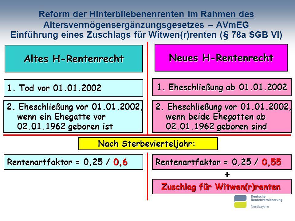 Reform der Hinterbliebenenrenten im Rahmen des Altersvermögensergänzungsgesetzes – AVmEG Einführung eines Zuschlags für Witwen(r)renten (§ 78a SGB VI)