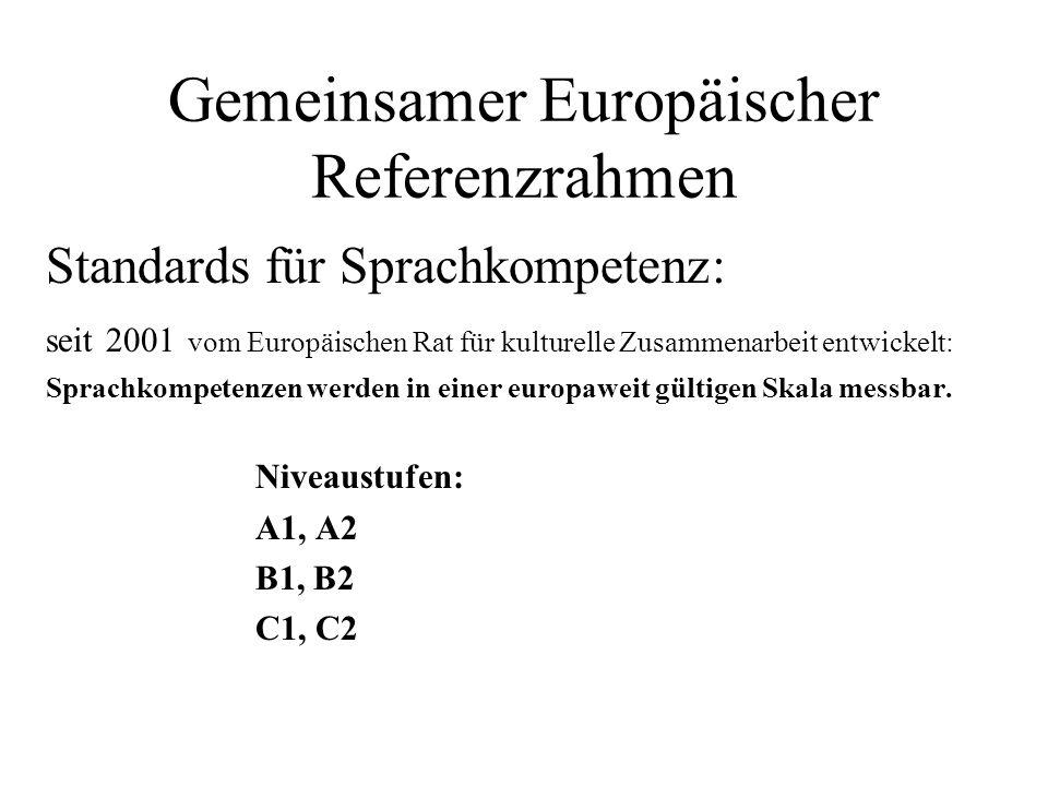 Gemeinsamer Europäischer Referenzrahmen Standards für Sprachkompetenz: seit 2001 vom Europäischen Rat für kulturelle Zusammenarbeit entwickelt: Sprach