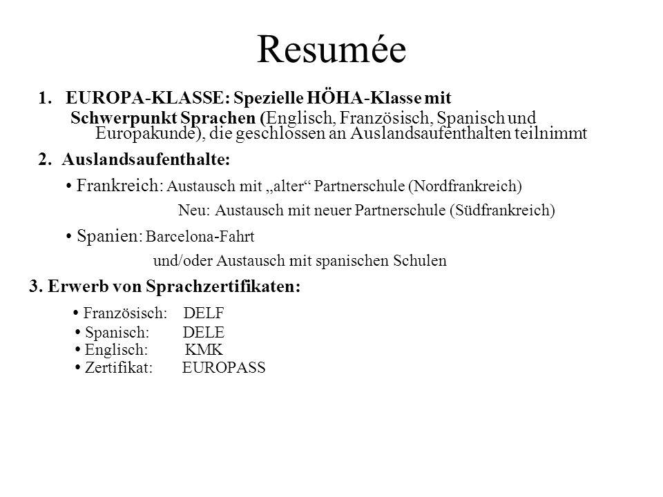Resumée 1. EUROPA-KLASSE: Spezielle HÖHA-Klasse mit Schwerpunkt Sprachen (Englisch, Französisch, Spanisch und Europakunde), die geschlossen an Ausland