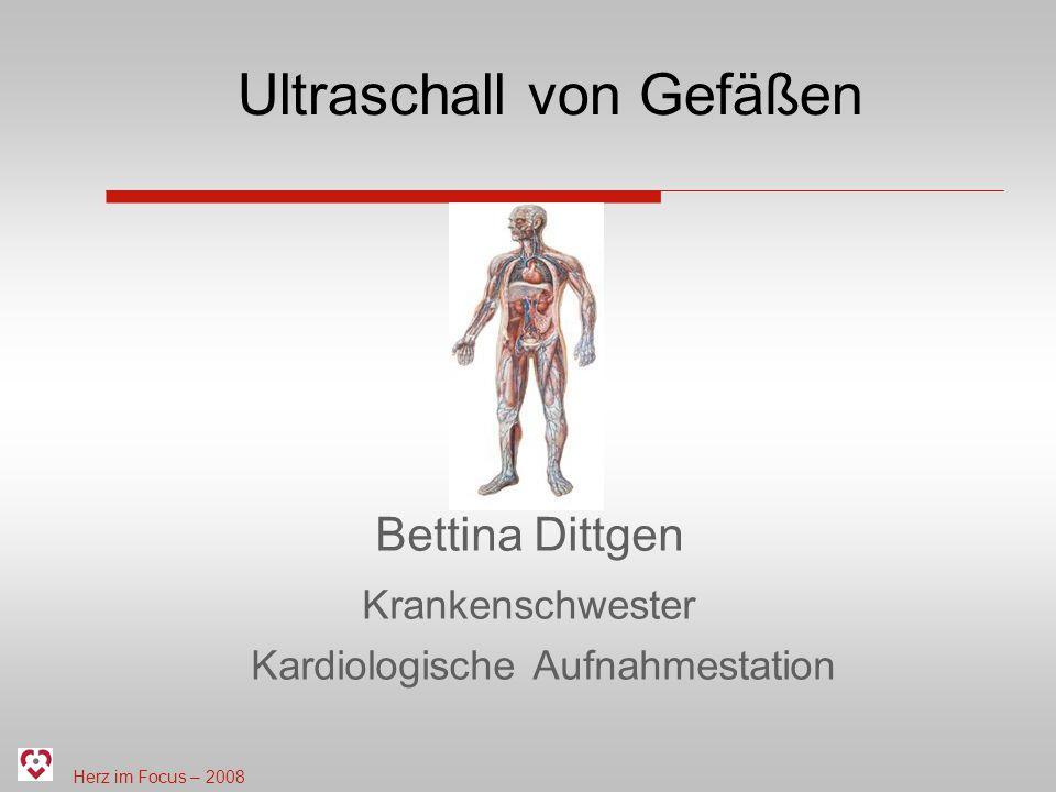 Herz im Focus – 2008 Ultraschall von Gefäßen 5.Häufige Ultraschalluntersuchungen Doppler der Leiste Indikation: vor und nach Herzkatheter Aneurysma spurium/ Aneurysma falsum