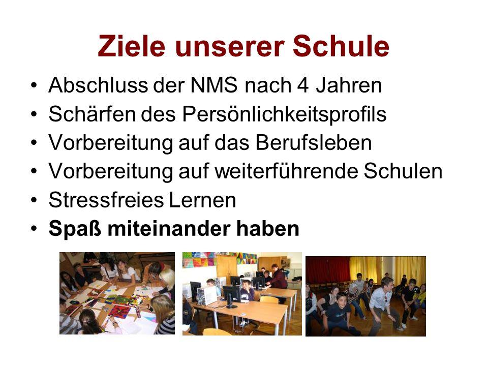 Ziele unserer Schule Abschluss der NMS nach 4 Jahren Schärfen des Persönlichkeitsprofils Vorbereitung auf das Berufsleben Vorbereitung auf weiterführe
