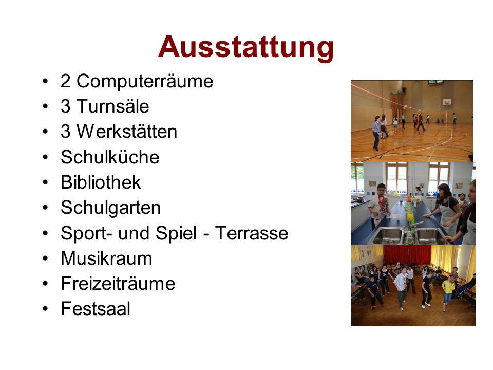 Ausstattung 2 Computerräume 3 Turnsäle 3 Werkstätten Schulküche Bibliothek Schulgarten Sport- und Spiel - Terrasse Musikraum Freizeiträume Festsaal