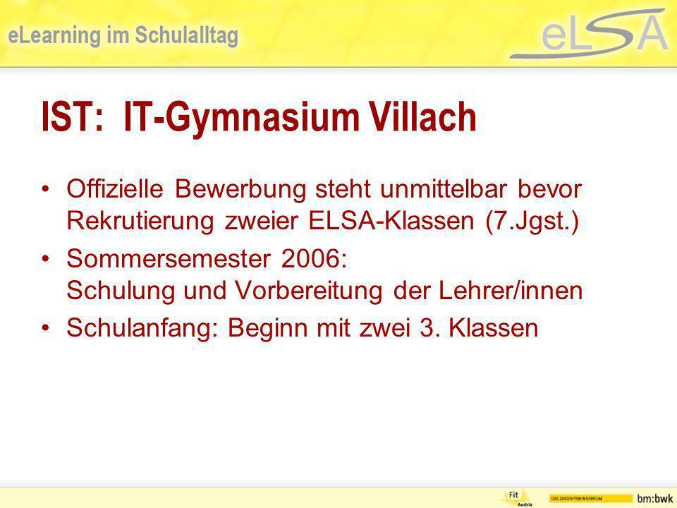 IST: IT-Gymnasium Villach Offizielle Bewerbung steht unmittelbar bevor Rekrutierung zweier ELSA-Klassen (7.Jgst.) Sommersemester 2006: Schulung und Vo