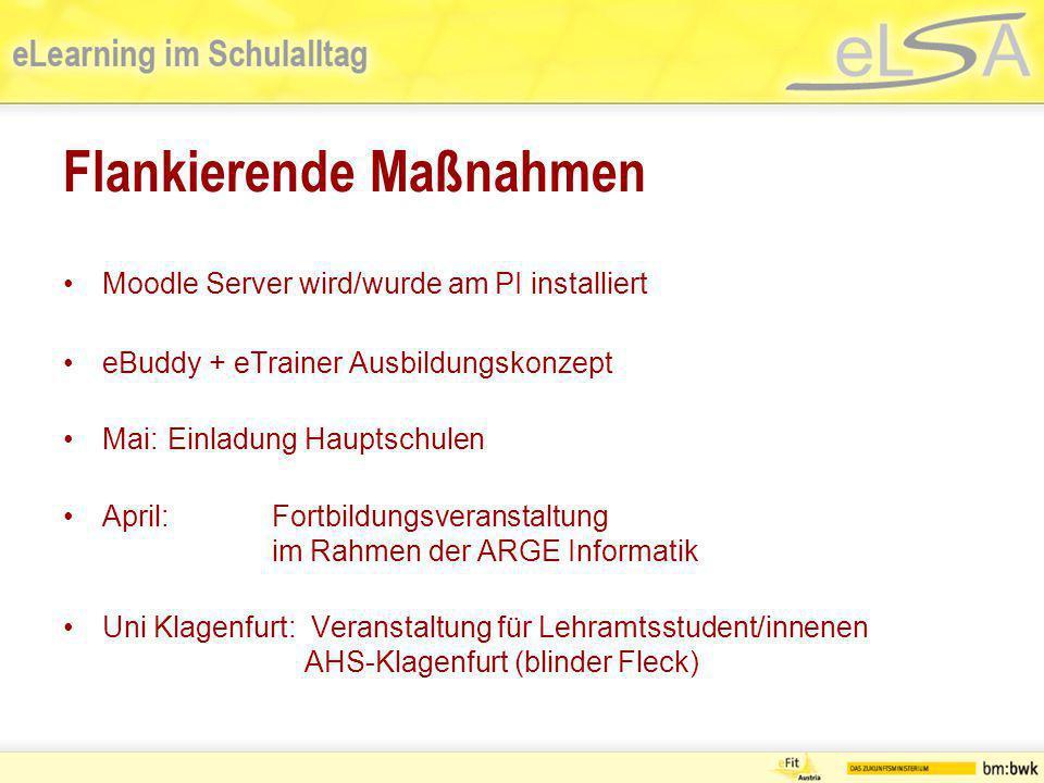 Flankierende Maßnahmen Moodle Server wird/wurde am PI installiert eBuddy + eTrainer Ausbildungskonzept Mai: Einladung Hauptschulen April: Fortbildungs