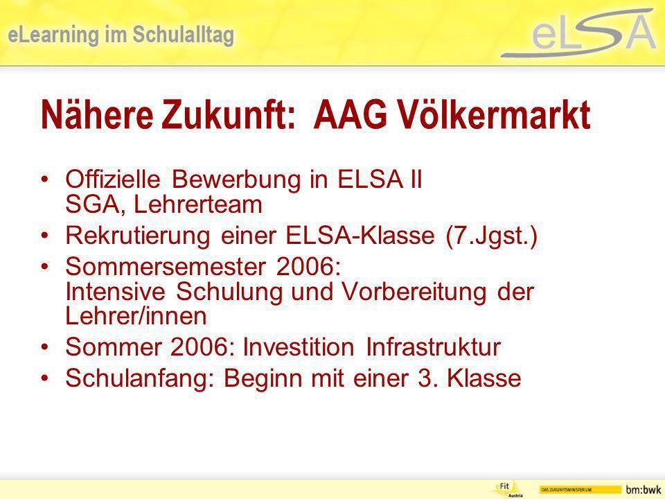 Nähere Zukunft: AAG Völkermarkt Offizielle Bewerbung in ELSA II SGA, Lehrerteam Rekrutierung einer ELSA-Klasse (7.Jgst.) Sommersemester 2006: Intensiv