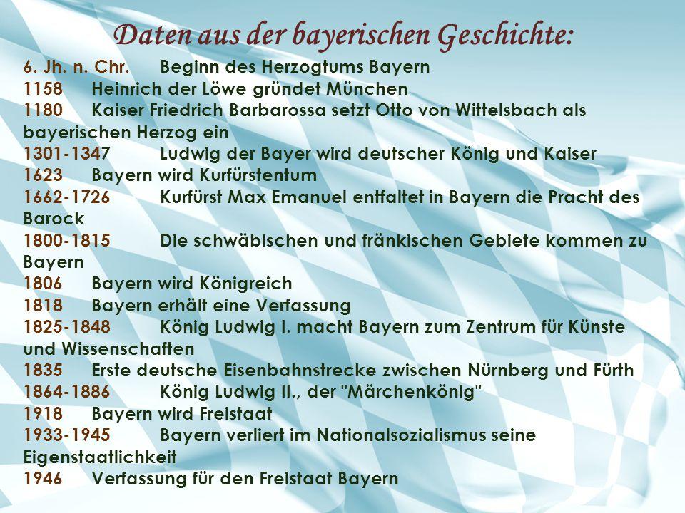Daten aus der bayerischen Geschichte: 6. Jh. n. Chr.Beginn des Herzogtums Bayern 1158Heinrich der Löwe gründet München 1180Kaiser Friedrich Barbarossa