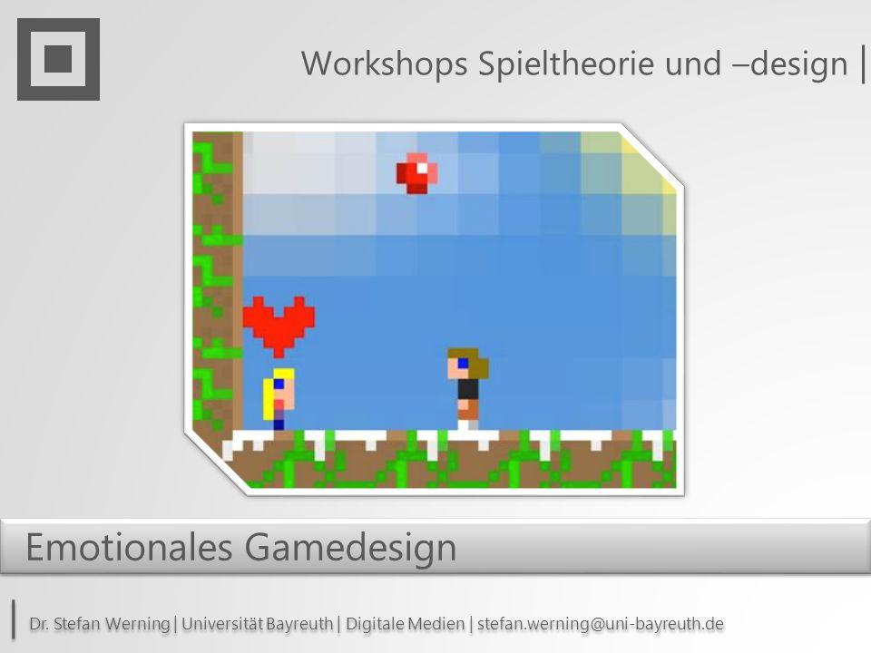 Heuristik Workshop: Emotionales Gamedesign -Allgemein: -(Simulation von Emotionen in KI / Regelkreisläufen) -Biofeedback (Puls, Atem, Blutdruck etc.) -Kinect Xbox One -Themen: -Innerer Konflikt als Konfliktsimulation -Polygamie Monogamie (innerer Konflikt) -Perspektive eines Kleinkindes (ungewohnte Perspektive, indirekte Steuerung, Unverstehen) -Wechselspiel von Abhängigkeit Aversion -Wert von Gemeinschaft (Sicht auf die Welt, Inklusion/Exklusion) -Emotionale Anreicherung von Konfliktspielen wie Star Craft -Ambivalenz des Rauchens (innerer Konflikt, Sucht) -Verlustangst (BEISPIEL Lebensverlust löscht Datei auf dem Computer)