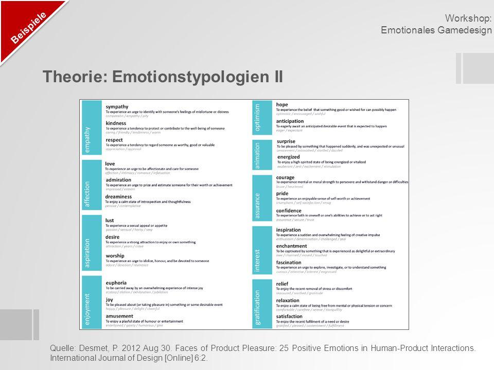 Theorie: Kompositmodell der Emotionen Beispiele Workshop: Emotionales Gamedesign Quelle: Plutchik, R.