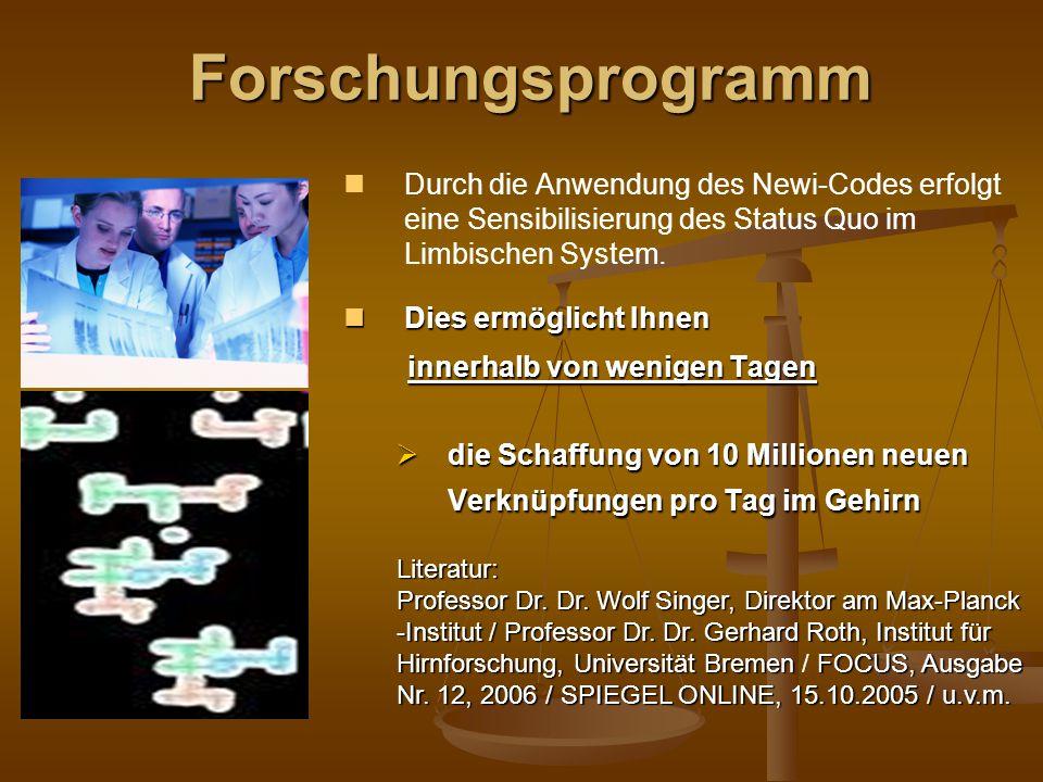Durch die Anwendung des Newi-Codes erfolgt eine Sensibilisierung des Status Quo im Limbischen System.