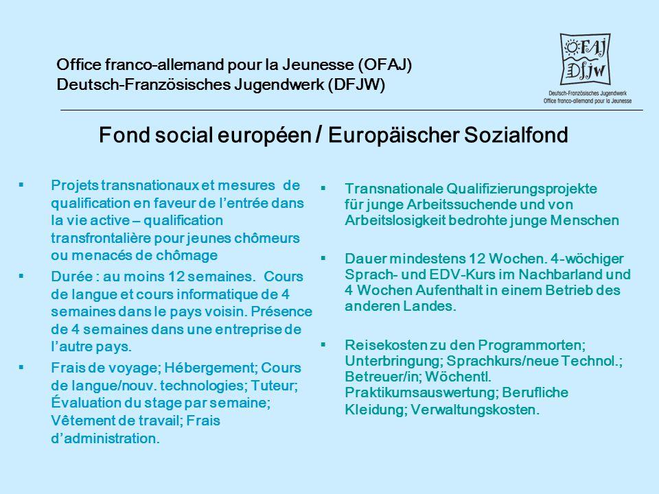 Office franco-allemand pour la Jeunesse (OFAJ) Deutsch-Französisches Jugendwerk (DFJW) Fond social européen / Europäischer Sozialfond Projets transnat