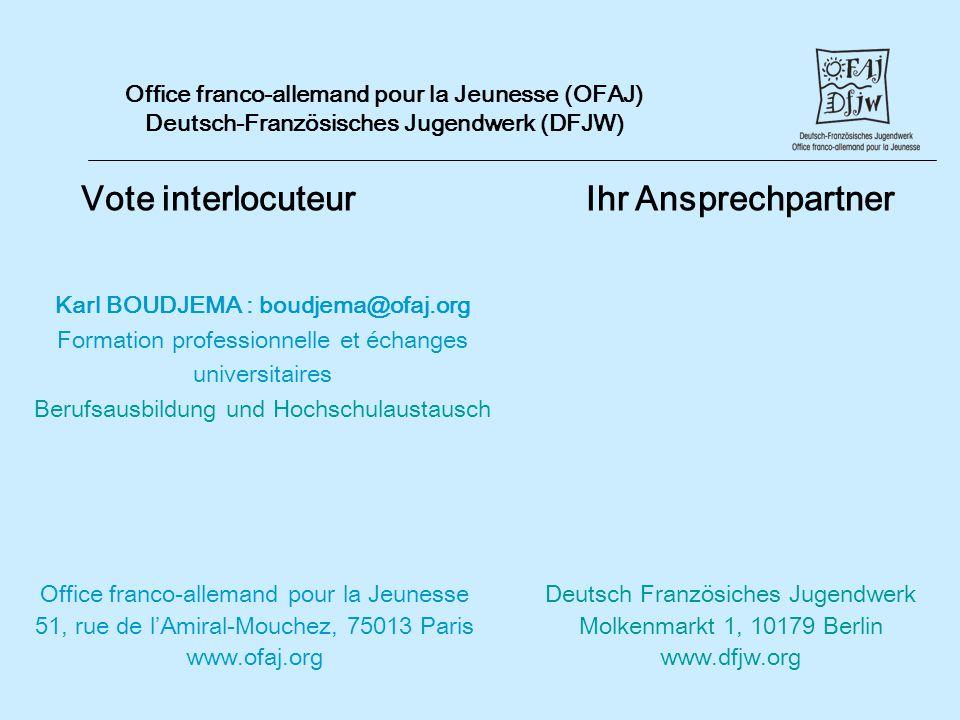 Vote interlocuteur Ihr Ansprechpartner Office franco-allemand pour la Jeunesse (OFAJ) Deutsch-Französisches Jugendwerk (DFJW) Office franco-allemand p