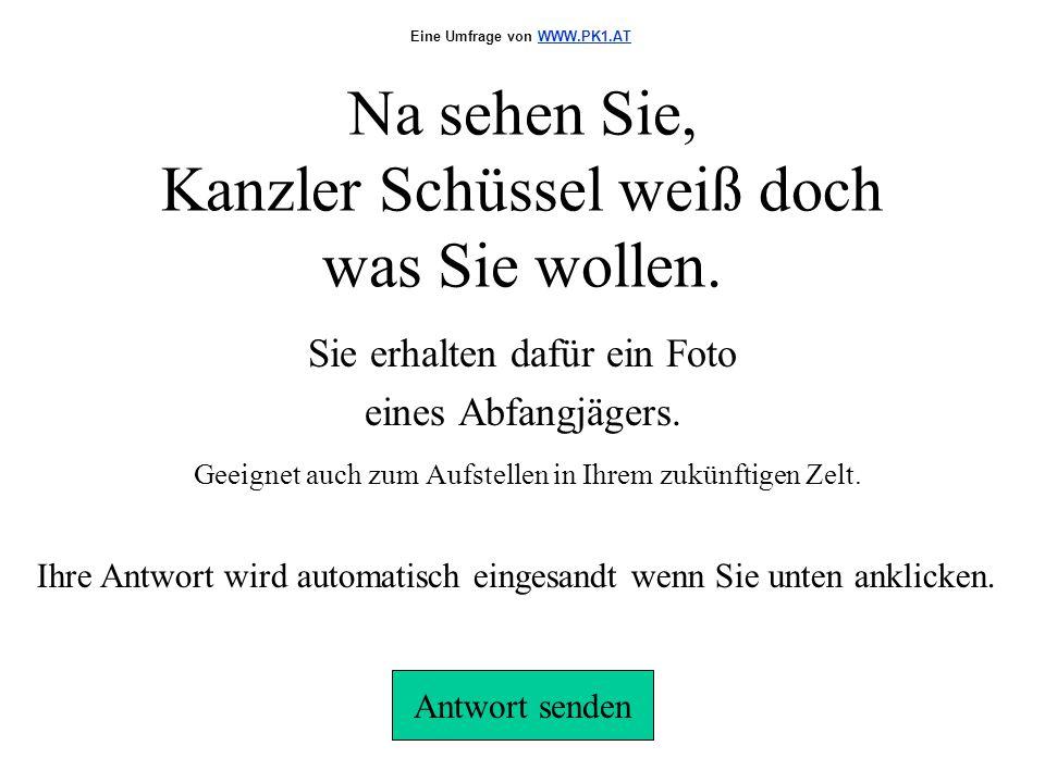 Na sehen Sie, Kanzler Schüssel weiß doch was Sie wollen.