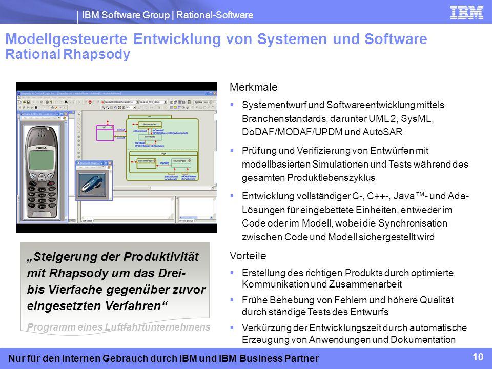 IBM Software Group | Rational-Software 10 Nur für den internen Gebrauch durch IBM und IBM Business Partner Modellgesteuerte Entwicklung von Systemen u