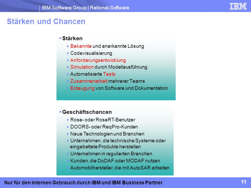 IBM Software Group | Rational-Software 11 Nur für den internen Gebrauch durch IBM und IBM Business Partner Stärken und Chancen Stärken Bekannte und an