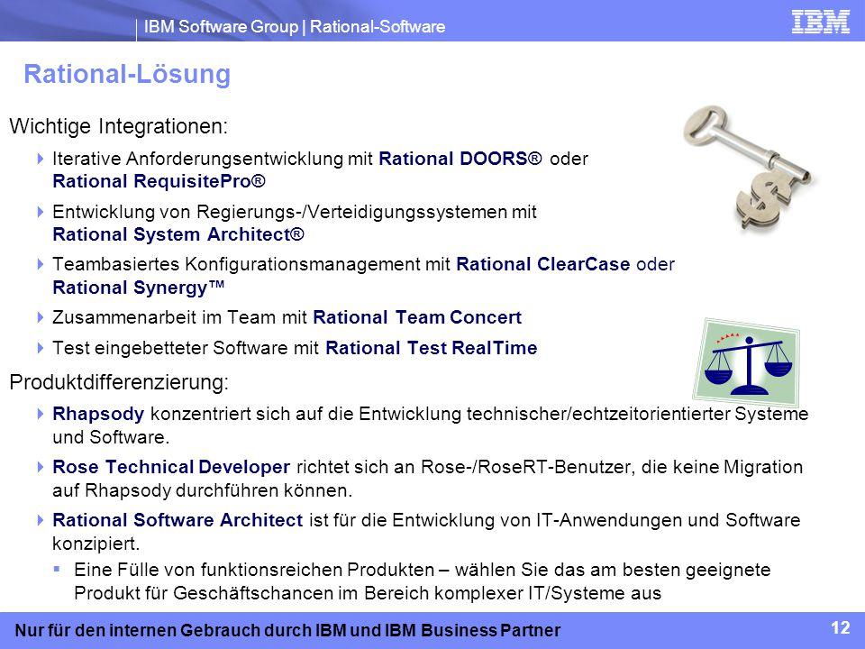 IBM Software Group | Rational-Software 12 Nur für den internen Gebrauch durch IBM und IBM Business Partner Rational-Lösung Wichtige Integrationen: Ite