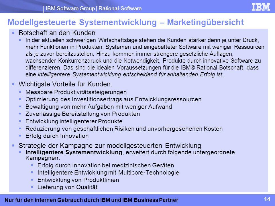 IBM Software Group | Rational-Software 14 Nur für den internen Gebrauch durch IBM und IBM Business Partner Modellgesteuerte Systementwicklung – Market