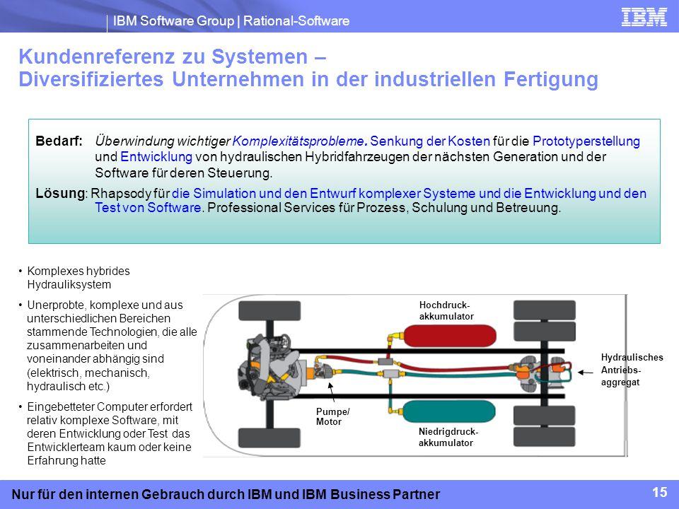 IBM Software Group | Rational-Software 15 Nur für den internen Gebrauch durch IBM und IBM Business Partner Kundenreferenz zu Systemen – Diversifiziert