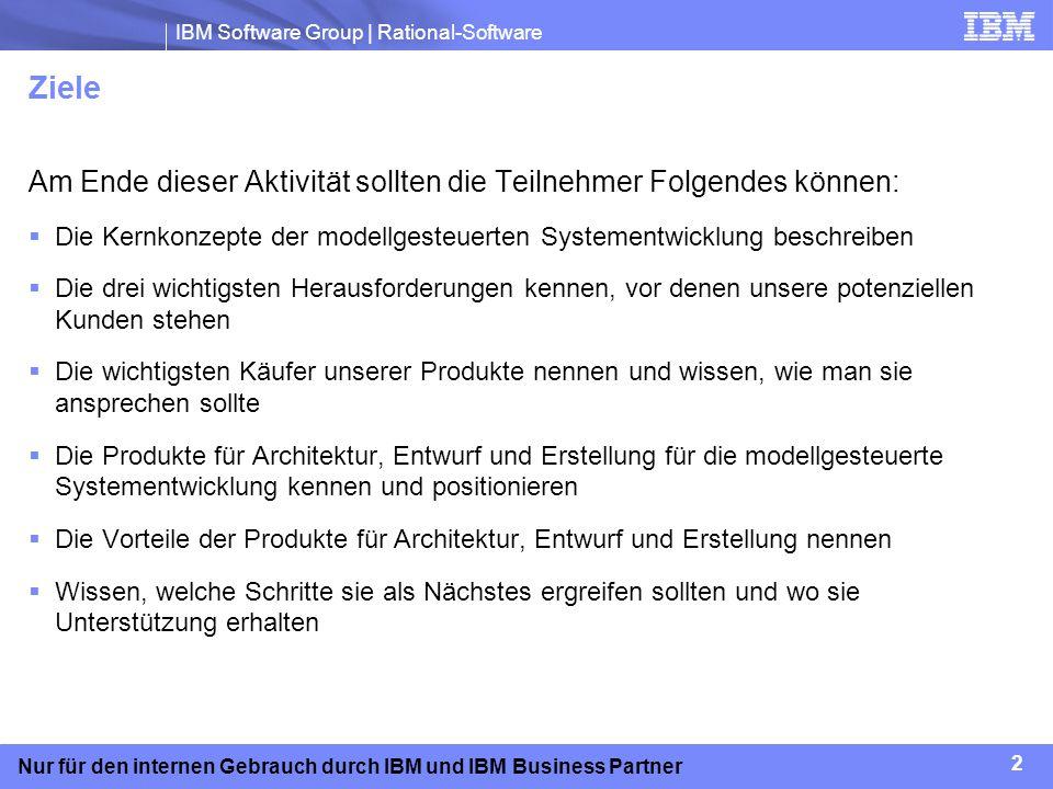 IBM Software Group | Rational-Software 13 Nur für den internen Gebrauch durch IBM und IBM Business Partner Kernpunkte Kostensenkung und schnellere Markteinführung Wiederverwendung von Assets (Vergleichsdaten, Varianten, Modelle, Code) Automatische Erzeugung von Code, Berichten und Dokumentation aus dem Entwurfsmodell Überprüfung der Funktionalität mittels der modellbasierten Simulation in einer frühen Projektphase – nicht erst während Integrationstests Steigerung der Produktivität und Effektivität Integration von Qualität; frühzeitige und häufige Tests Erstellung von Tests direkt aus dem Entwurfsmodell Iteration der Projektanforderungen bis zum Endprodukt Vereinfachung von Komplexität Erkennung der abstrakten Ebene (des Gesamtbilds) durch ein zusammenhängendes Modell Echte Arbeitsteilung bei wichtigen Projekten Kommunikation und Zusammenarbeit zwischen verteilten Entwicklerteams Die modellgesteuerte Systementwicklung bietet Ihren Kunden einen Wettbewerbsvorteil