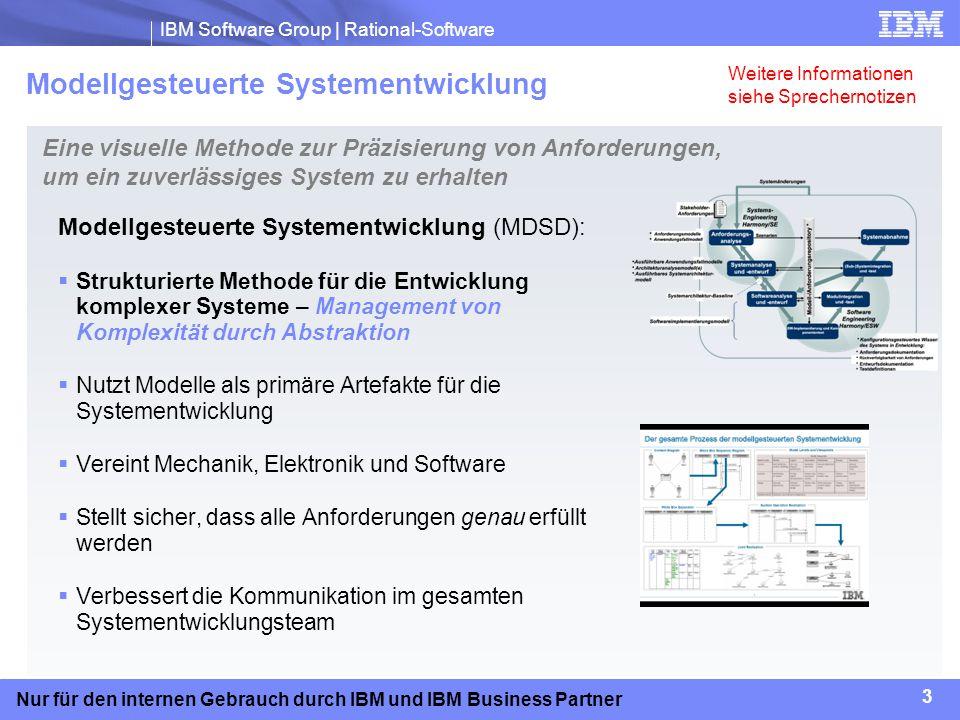 IBM Software Group | Rational-Software 3 Nur für den internen Gebrauch durch IBM und IBM Business Partner Modellgesteuerte Systementwicklung (MDSD): S
