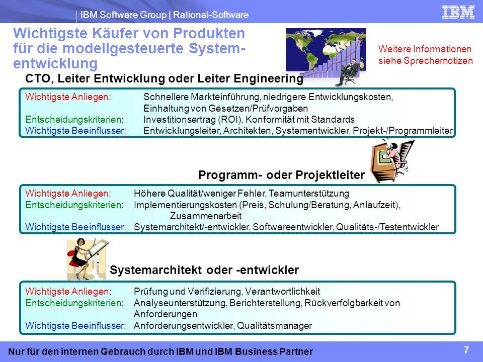 IBM Software Group | Rational-Software 18 Nur für den internen Gebrauch durch IBM und IBM Business Partner