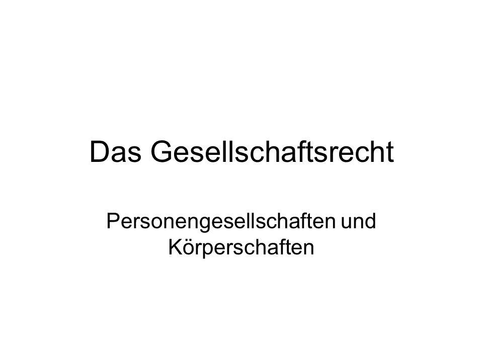 Gesellschaften PersonengesellschaftenKörperschaften - GbR (§ 705 BGB)- Verein (§§ 21 ff., § 54 BGB) - OHG (§§ 105 ff.