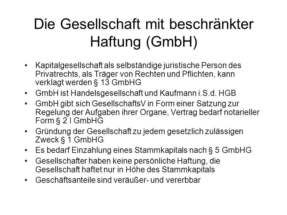 Die Gesellschaft mit beschränkter Haftung (GmbH) Kapitalgesellschaft als selbständige juristische Person des Privatrechts, als Träger von Rechten und