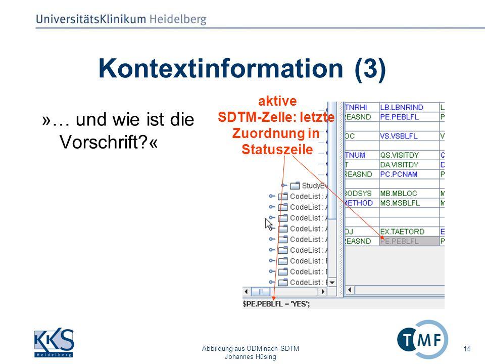 Abbildung aus ODM nach SDTM Johannes Hüsing 14 Kontextinformation (3) »… und wie ist die Vorschrift?« aktive SDTM-Zelle: letzte Zuordnung in Statuszeile
