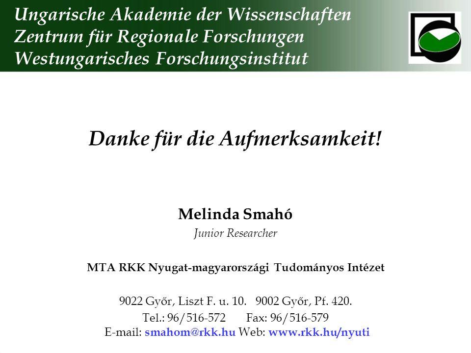 Danke für die Aufmerksamkeit! Ungarische Akademie der Wissenschaften Zentrum für Regionale Forschungen Westungarisches Forschungsinstitut Melinda Smah