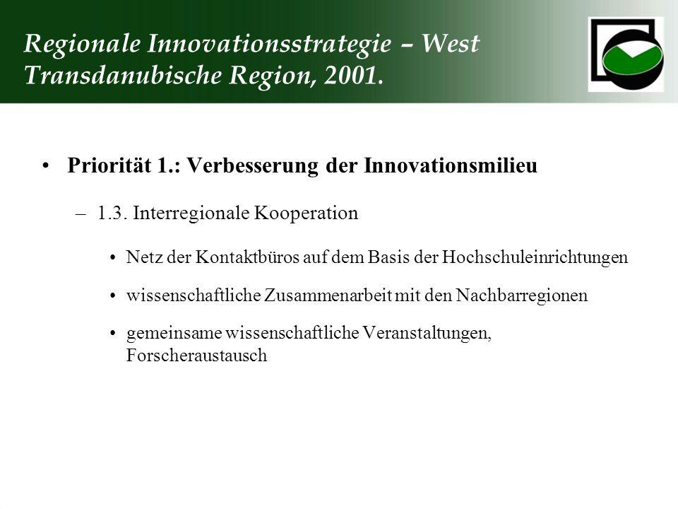 Regionale Innovationsstrategie – West Transdanubische Region, 2001.