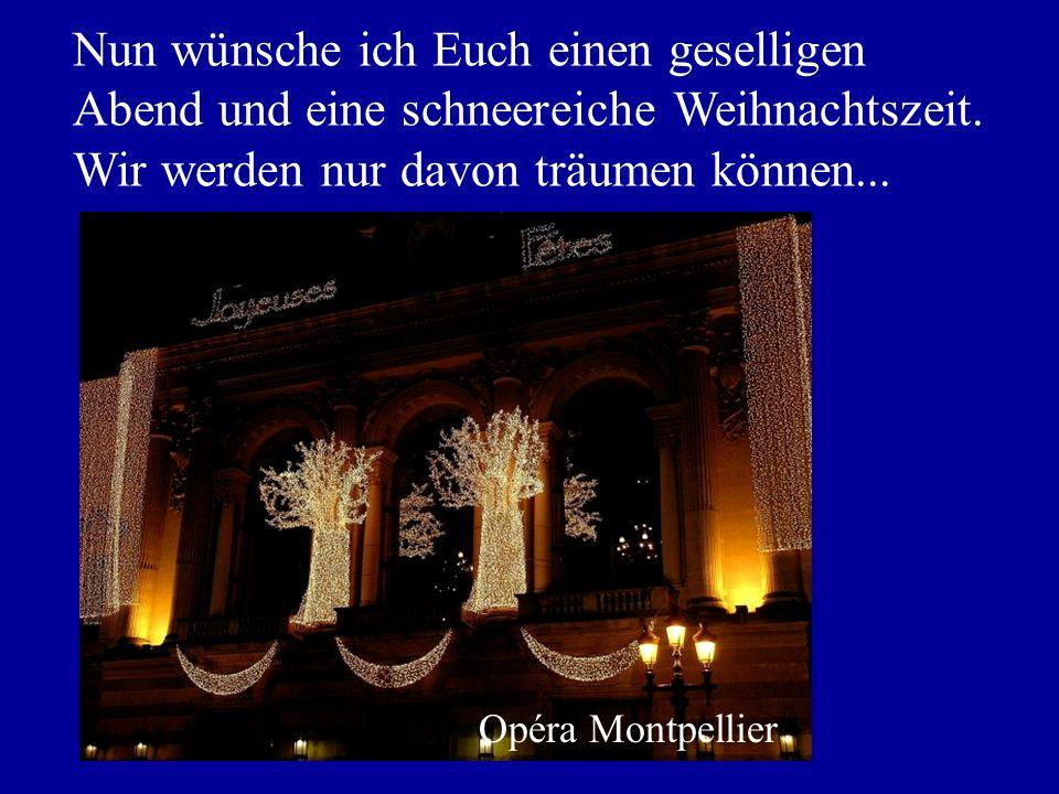 Nun wünsche ich Euch einen geselligen Abend und eine schneereiche Weihnachtszeit. Wir werden nur davon träumen können... Opéra Montpellier