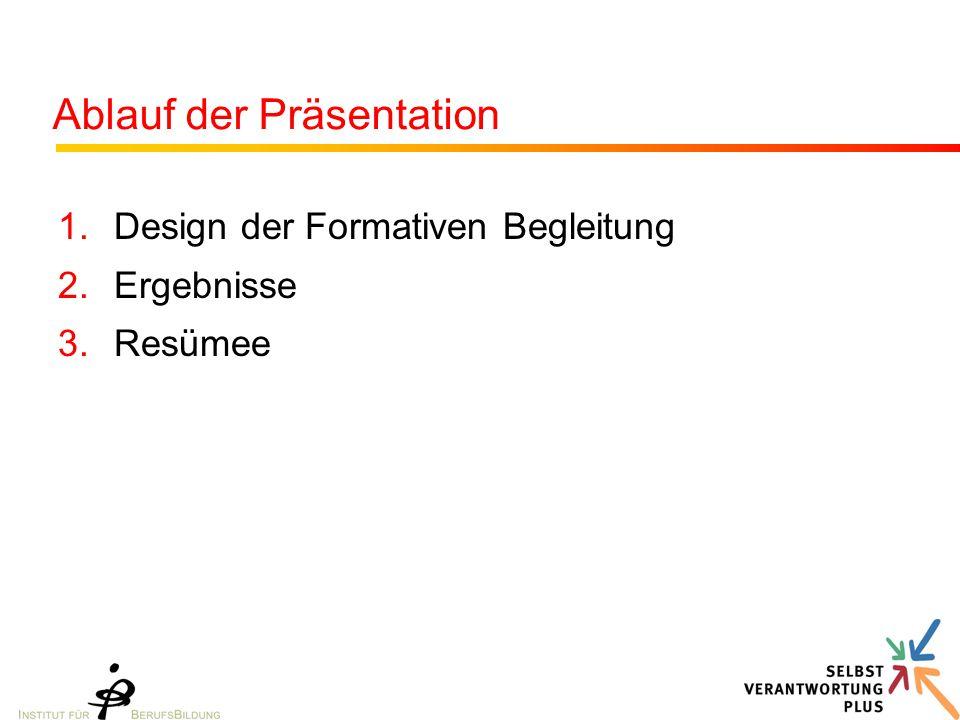 Ablauf der Präsentation 1.Design der Formativen Begleitung 2.Ergebnisse 3.Resümee