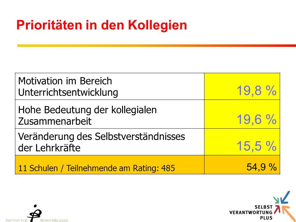 Prioritäten in den Kollegien Motivation im Bereich Unterrichtsentwicklung 19,8 % Hohe Bedeutung der kollegialen Zusammenarbeit 19,6 % Veränderung des Selbstverständnisses der Lehrkräfte 15,5 % 11 Schulen / Teilnehmende am Rating: 485 54,9 %