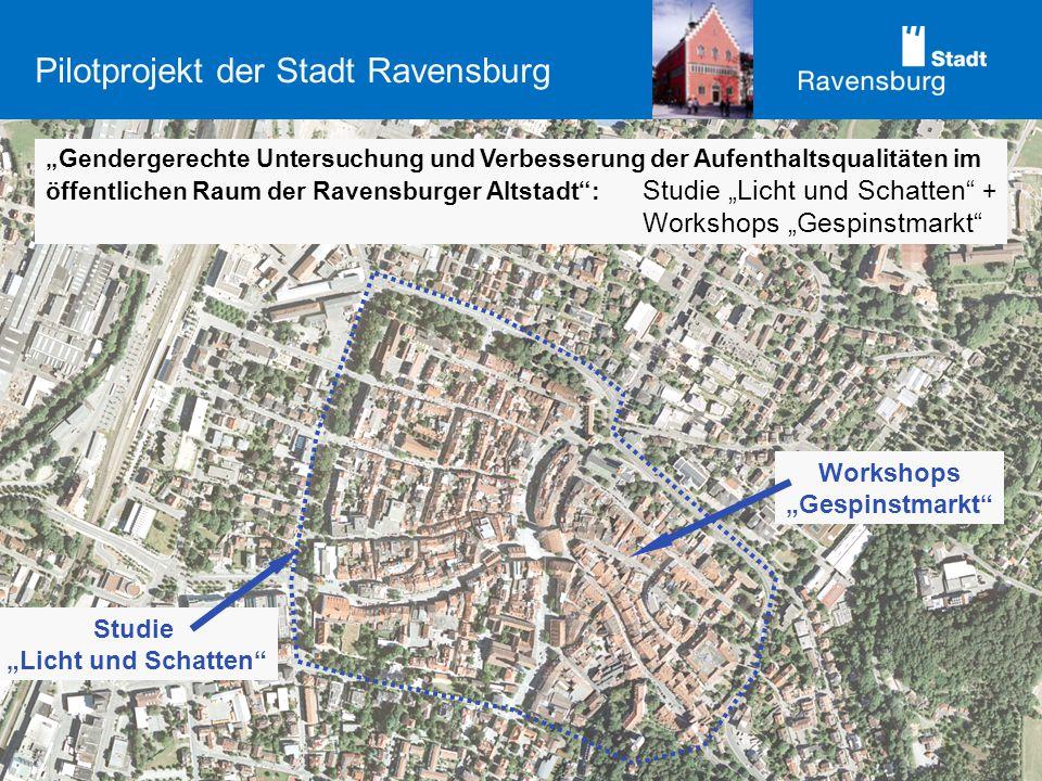 Pilotprojekt der Stadt Ravensburg Gendergerechte Untersuchung und Verbesserung der Aufenthaltsqualitäten im öffentlichen Raum der Ravensburger Altstad