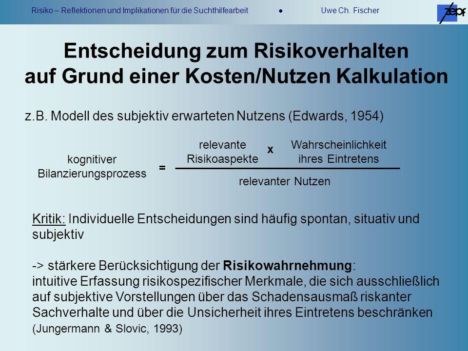 Risiko – Reflektionen und Implikationen für die Suchthilfearbeit Uwe Ch. Fischer Kritik: Individuelle Entscheidungen sind häufig spontan, situativ und