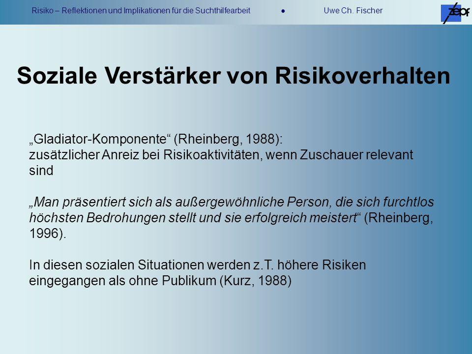 Risiko – Reflektionen und Implikationen für die Suchthilfearbeit Uwe Ch. Fischer Gladiator-Komponente (Rheinberg, 1988): zusätzlicher Anreiz bei Risik