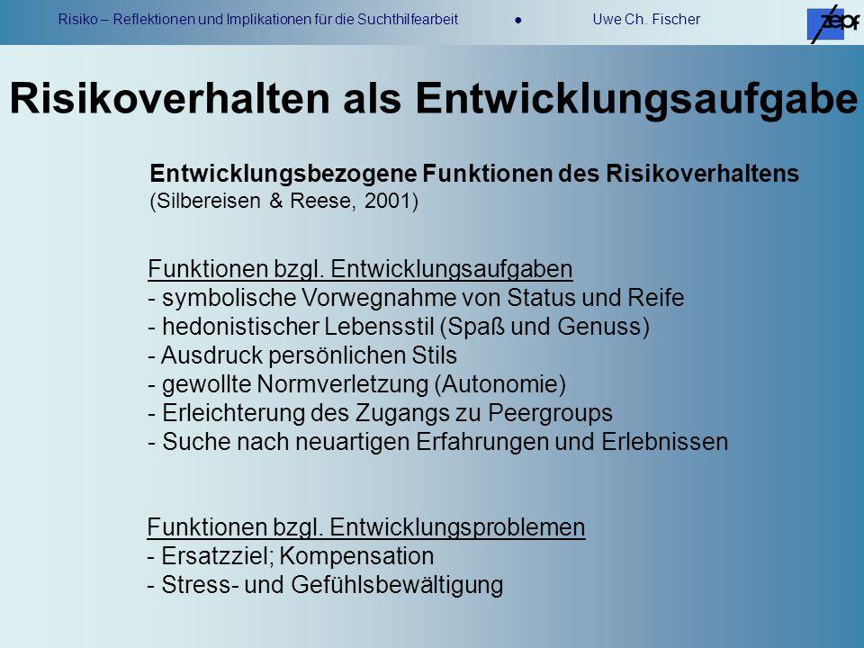 Risiko – Reflektionen und Implikationen für die Suchthilfearbeit Uwe Ch. Fischer Risikoverhalten als Entwicklungsaufgabe Funktionen bzgl. Entwicklungs
