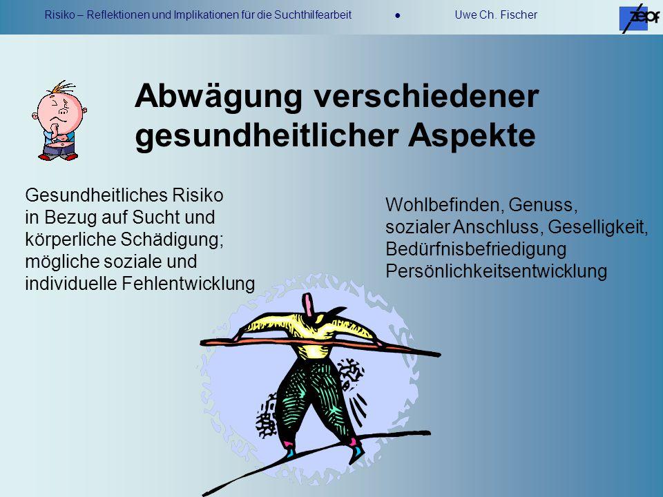 Risiko – Reflektionen und Implikationen für die Suchthilfearbeit Uwe Ch. Fischer Abwägung verschiedener gesundheitlicher Aspekte Gesundheitliches Risi