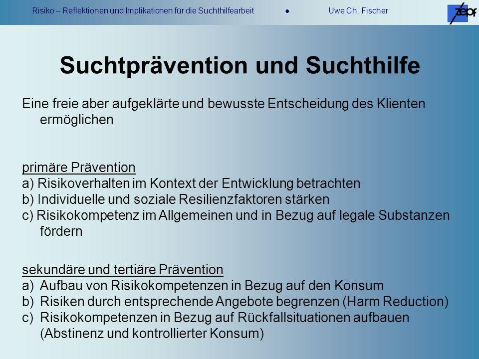 Risiko – Reflektionen und Implikationen für die Suchthilfearbeit Uwe Ch. Fischer Eine freie aber aufgeklärte und bewusste Entscheidung des Klienten er